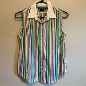 Ralph Lauren golf button down collars tank striped